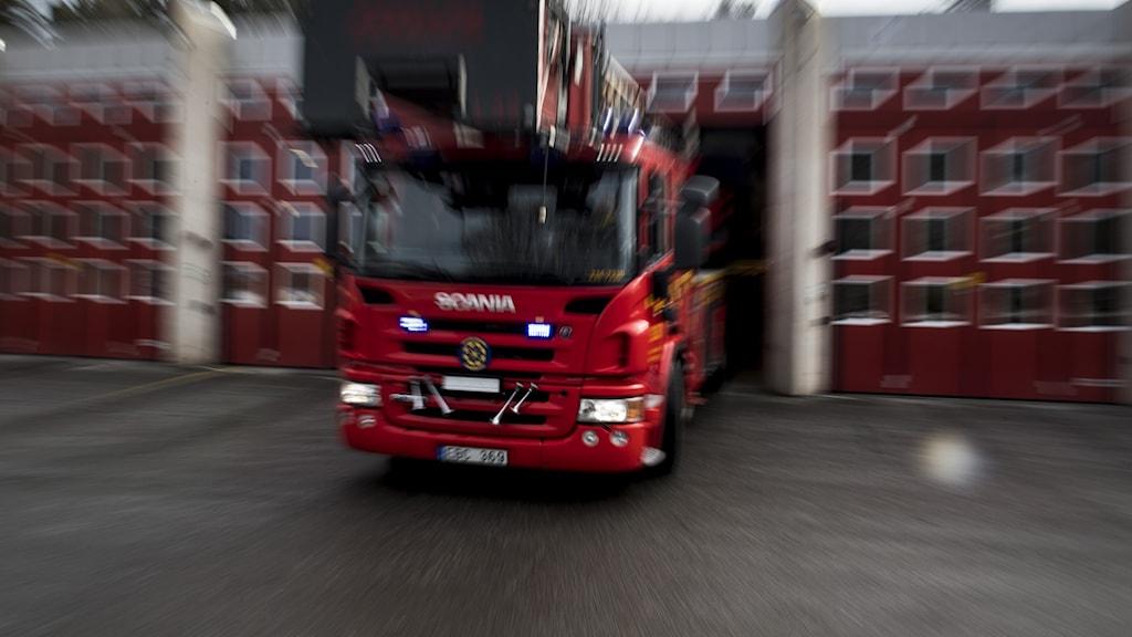 Brandbil rycker ut på larm.