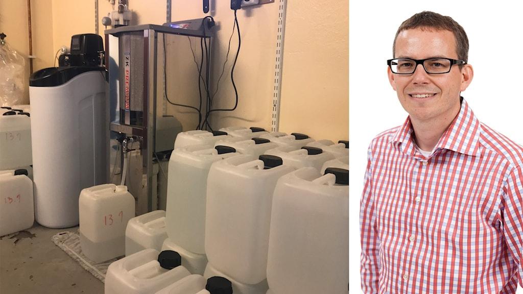 Till vänster i bild står flera dunkar med vatten bredvid en apparat. Till höger professor Ulf Ellervik.