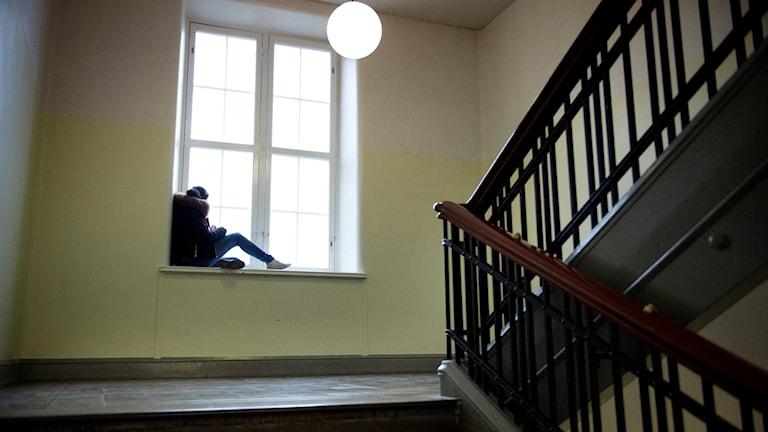 Elev sitter i fönster.
