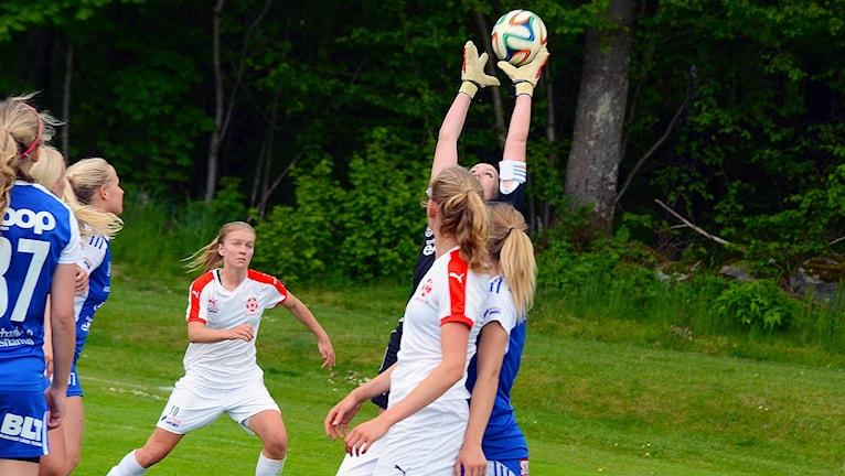 Hanna Andersson Asarums IF målvakt tar bollen på en hörna. Foto: Torbjörn Sunesson