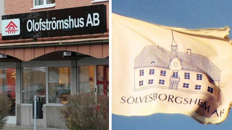 Olofströmhus entre och Sölvesborgshems flagga
