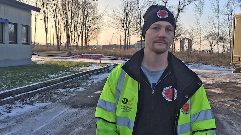 Christian Thernström för Hamnarbetarförbundet i Karlshamn.