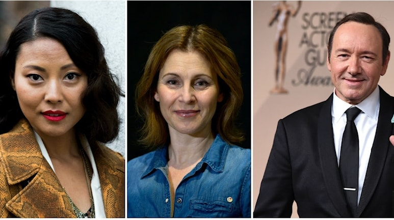 Ett collage med bilder på Lizette Pagler, Helene Sjöholm, Kevin Spacey.