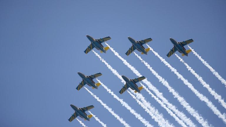 SK 60 flygplan i formation. Foto: Adam Ihse/TT