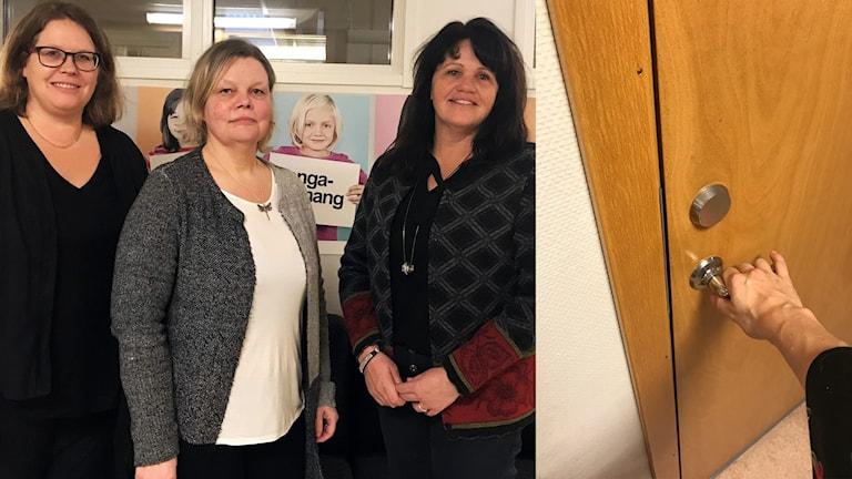 Pernilla Andersson, Helen Hageberg och socialchef Camilla Munther i Olofström har alla varit med i arbetet för att trygga arbetsmiljön för personalen.