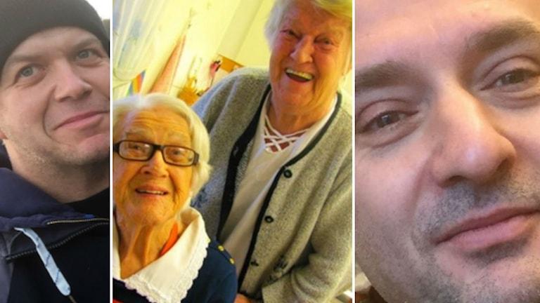 Tre olika bilder i en bild. Det är två män och två kvinnor.