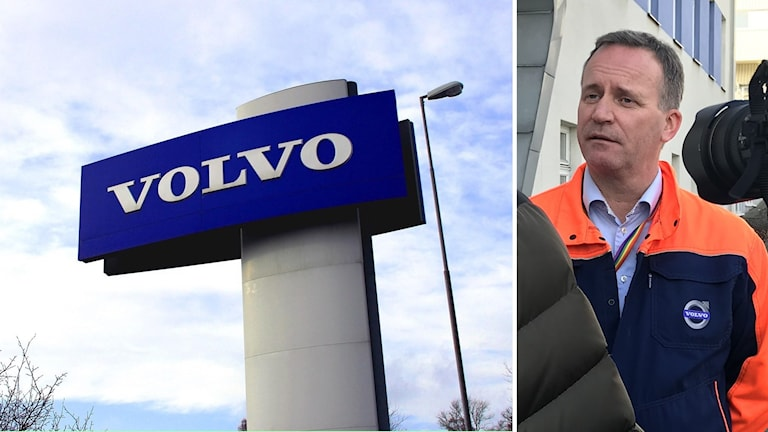 En skylt med Volvos logga och platschef Mikael Vessin