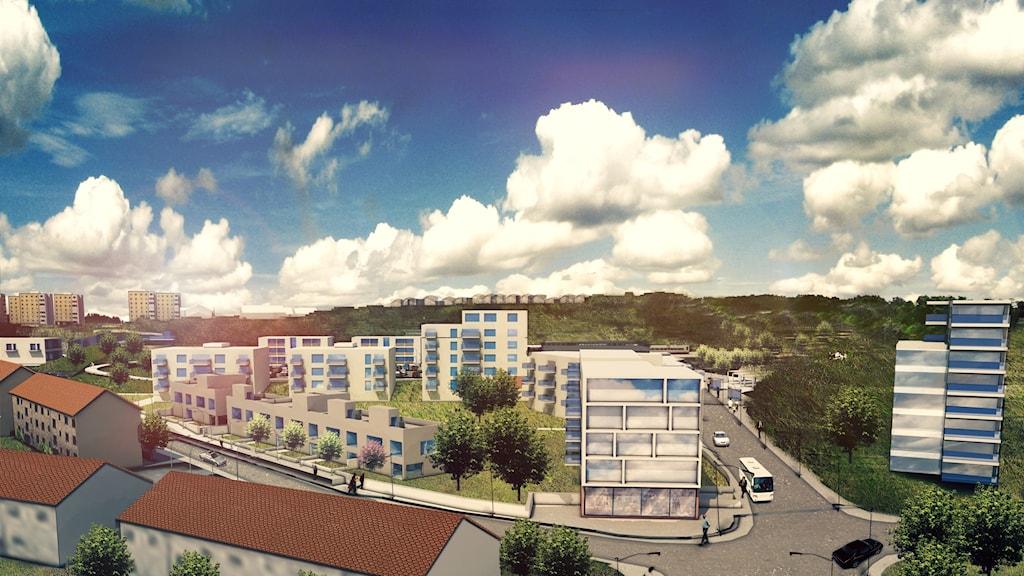 Den planerade stadsdelen Stationsstaden i Karlshamn med det högsta huset längst till höger.