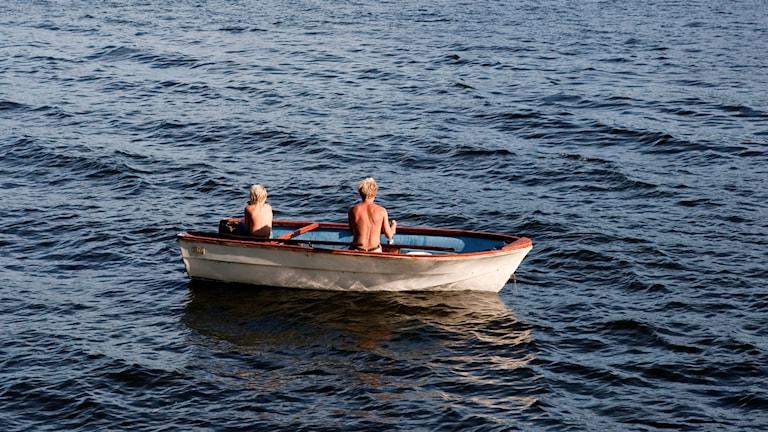 två pojkar i en roddbåt.