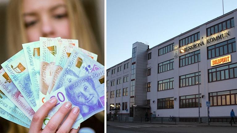 Kvinna med sedlar och kommunhuset i Karlskrona.