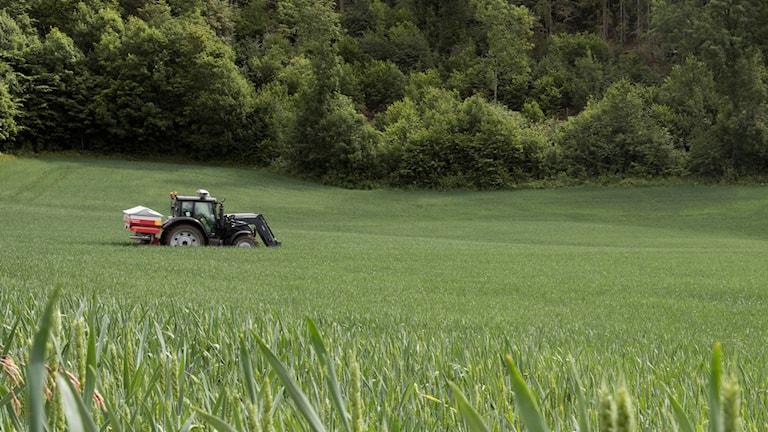 En traktor på en åker.
