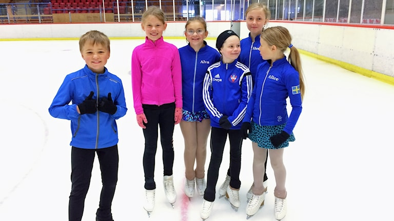 En kille och fem tjejer står med skridskor på isen och ler.