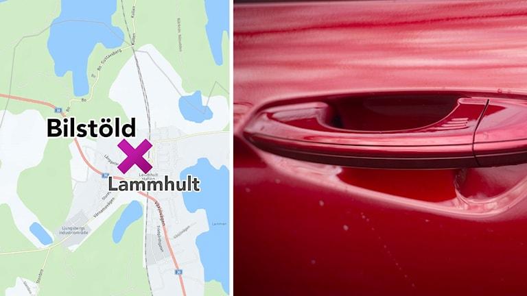 Karta över lammhult och ett rött dörrhandtag på en bil
