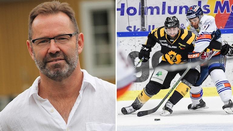 Till vänster Mike Zanier, till höger en match mellan Växjö Lakers och Skellefteå