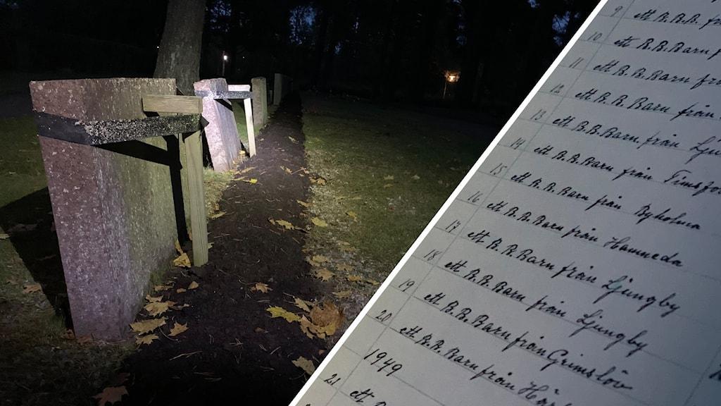 Bildmontage: Bild på Skogskyrkogården och en bild på en lista med namn.