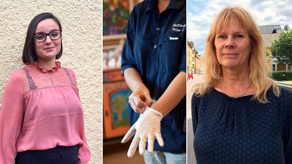 Politikerna Henrietta Serrate och Eva Johnsson inklippta vid en bild på en sköterska med plasthandskar.