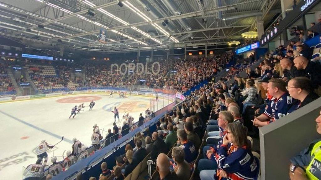 Panorama bild över Västra Stå i Vida Arena