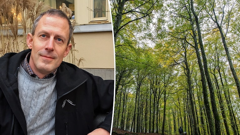 Johan Nordanstig sitter framför en gul husfasad till vänster. En grönskande lövskog är inklippt till höger.