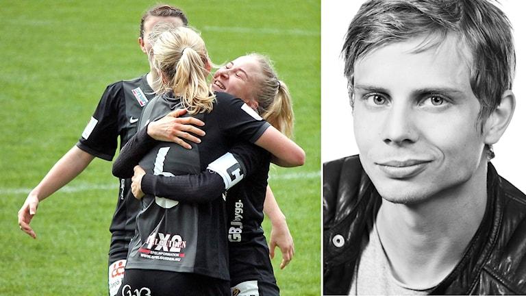 Till vänster Växjö DFF efter en vinst, till höger Jonatan Bergman