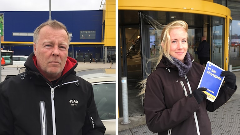 Benny Lundgren och Cecilia Gunnvall står utanför Ikea.