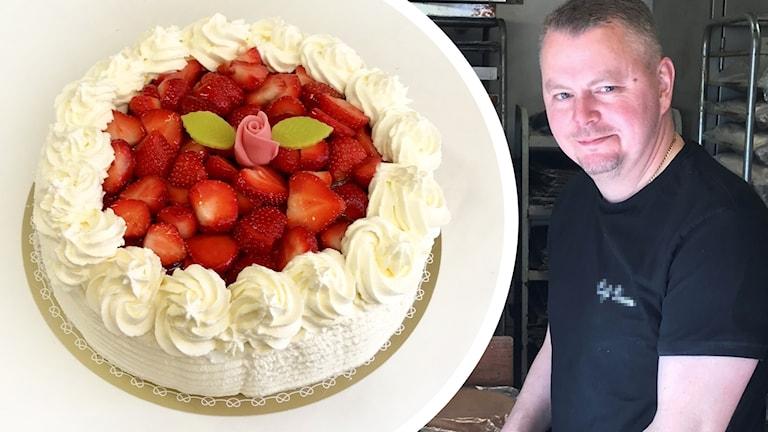 Tårta och Jonas Petersson.