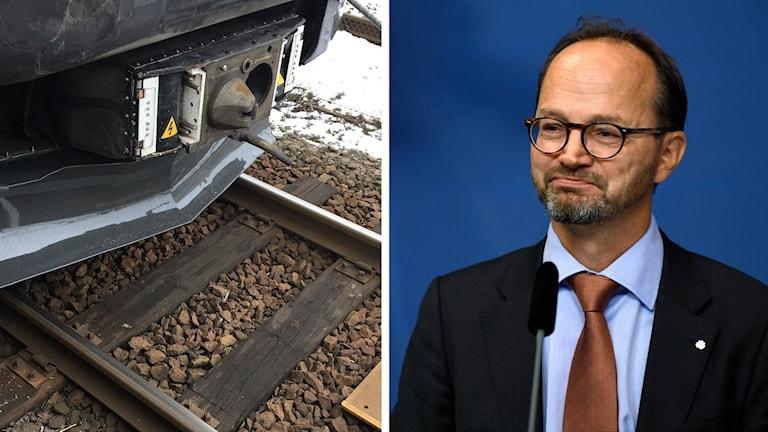 Ett tåg på räls och infrastrukturminister Tomas Eneroth (S).
