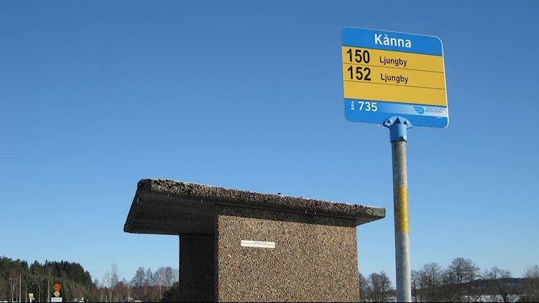 En busshållplats i Kånna. Foto: Anna Tigerström/Sveriges Radio
