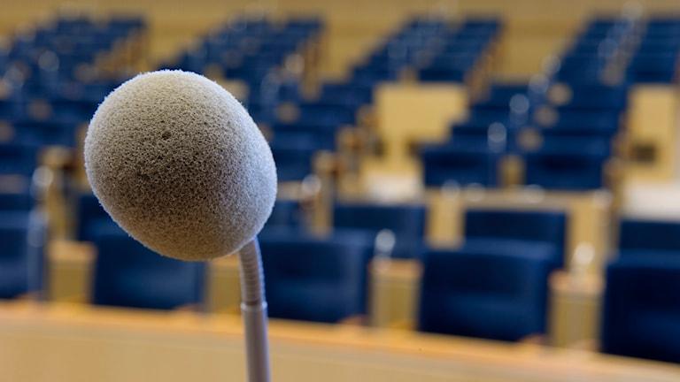 Mikrofon, kommunfullmäktige, riksdag, möte, avhopp