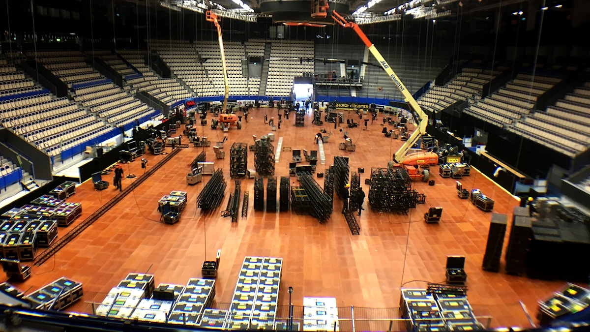 Vida Arena i Växjö håller på att byggas för melodifestivalen 2017.