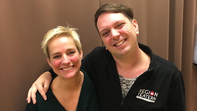 Nina Lönnberg, amatörskådespelare & Andreas Dahl, dramapedagog.