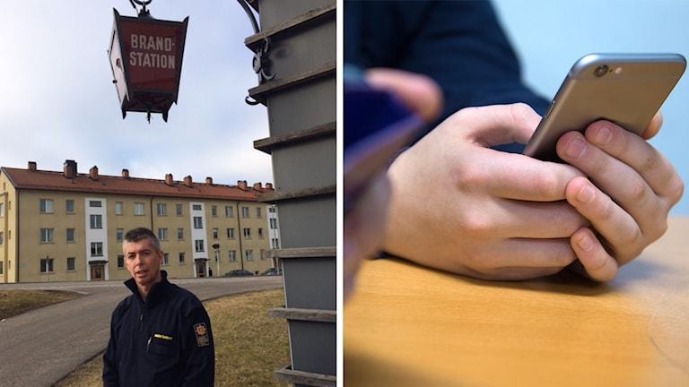 Montage. Till vänster Joakim Karlsson nedanför en brandstationsskylt. Till höger en hand som håller runt en mobiltelefon.