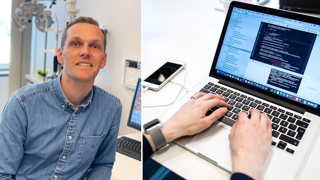 Bildmontage: Andreas Asplund, optiker i Växjö och en person framför en laptop.