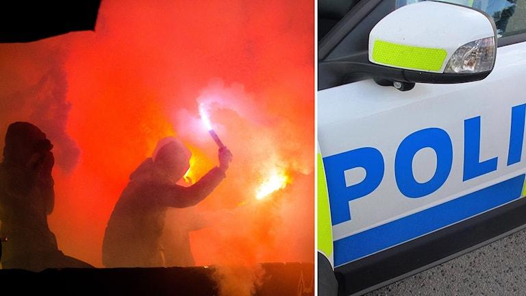 """Bildcollage: bild 1: bengaleld och rök, några personer håller de i det. bild 2: polisbil med texten """"POLISEN""""."""