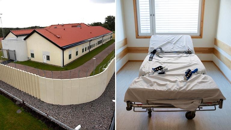 En bild över rättspsyk i Växjö och en säng med spännbälten.