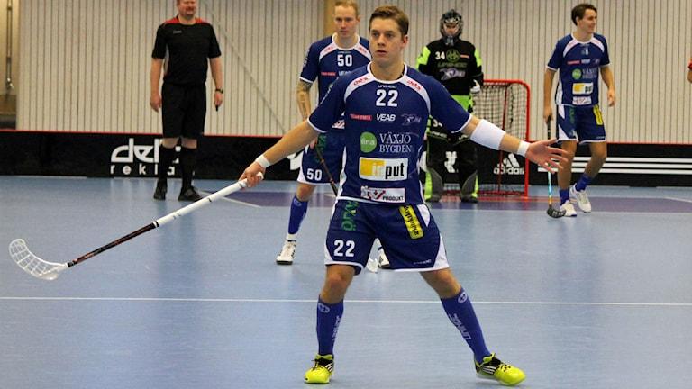 Linus Jämtdal i Växjö IBK (Vipers) i Fortnox Arena. Foto: Anna Tigerström/Sveriges Radio