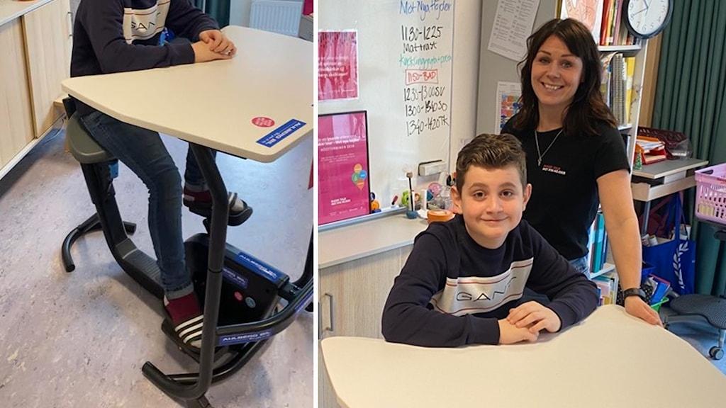 En skolbänk med cykeltrampor och en skolelev och en projektledare