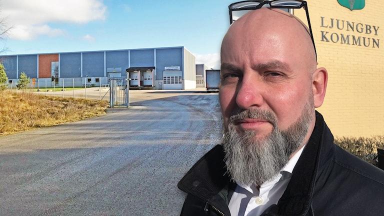 En industrilokal i Ljungby och Ljungbys kommunalråd i en bild.