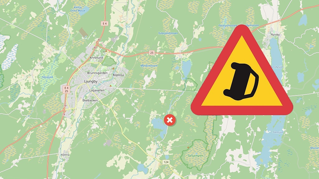 En olycka vid en badsjö utanför Ljungby.