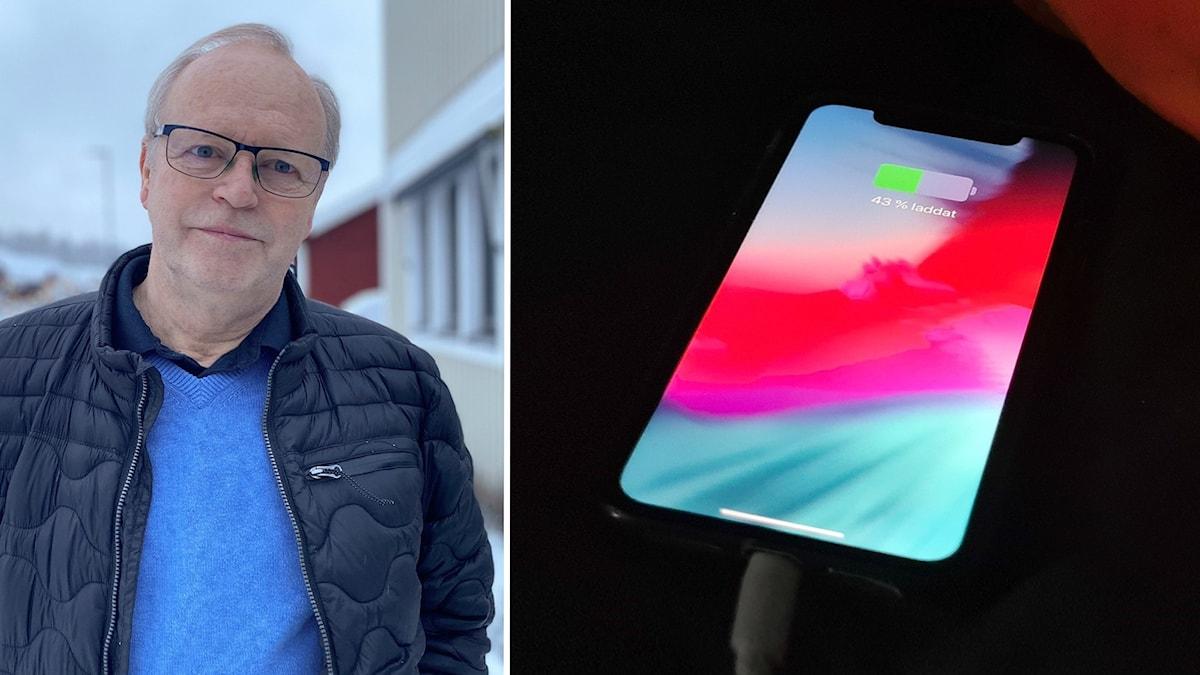 Thomas Wrååk och en mobil som laddas i sängen.
