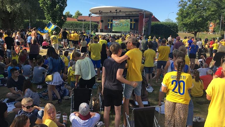 Mängder av personer kollar på fotboll i Linnéparken i Växjö. De flesta har en gul Sverigetröja på sig.