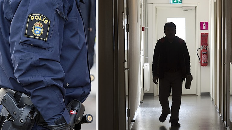 Polis och en pojke som går i korridor.