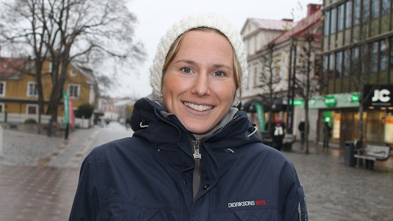 P4 Kronobergs innebandyexpert Helen Lindgren. Foto: Anne Marchal/Sveriges Radio