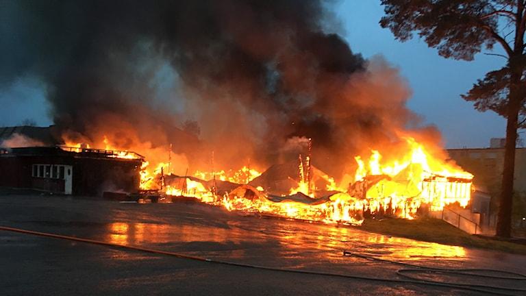 Branden vid Folkets Park i Växjö.