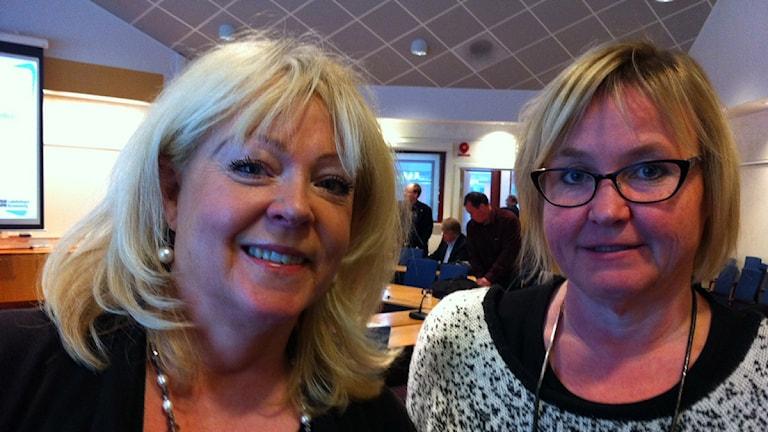 Suzanne Frank, moderaterna och Anna Fransson, socialdemokraterna. Foto: Lena Gustavsson/ Sveriges Radio