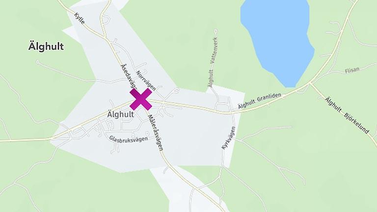 Olyckan i korsningen Måleråsvägen/Lenhovdavägen i Älghult i Uppvidinge kommun