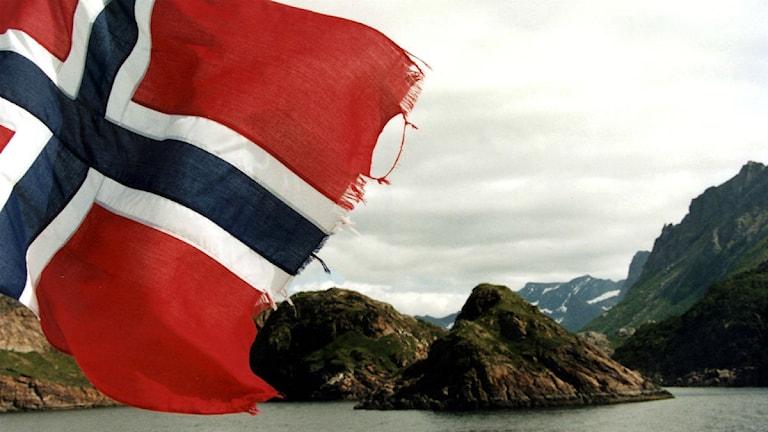 En norsk flagga fladdrar i grannlandet. Foto: TT