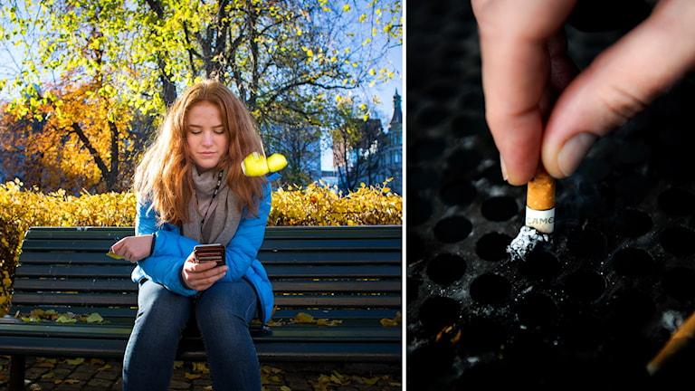 Bildcollage: Tjej sitter med telefonen på en parkbänk. En cigg fimpas.