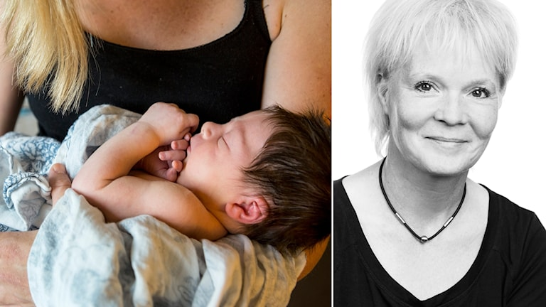 Till vänster en kvinna med ett spädbarn, till höger Lena Gustavsson
