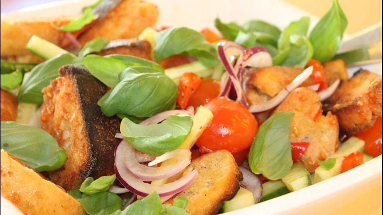 Panzetta, italiensk sallad med bröd, lök och tomat. Foto: Anne Marchal/ Sveriges Radio
