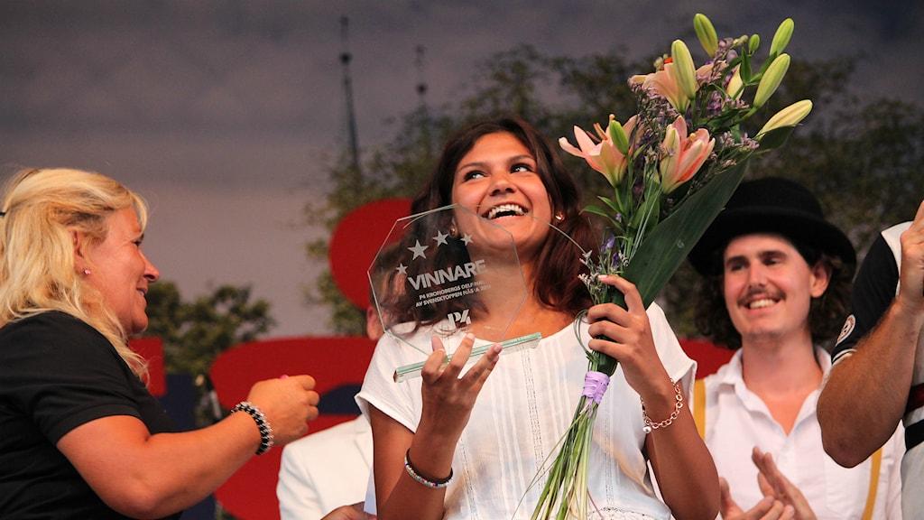 Rebecca Fredriksson vann finalen av Svensktoppen nästa. Foto: Anton Yngvesson/Sveriges Radio